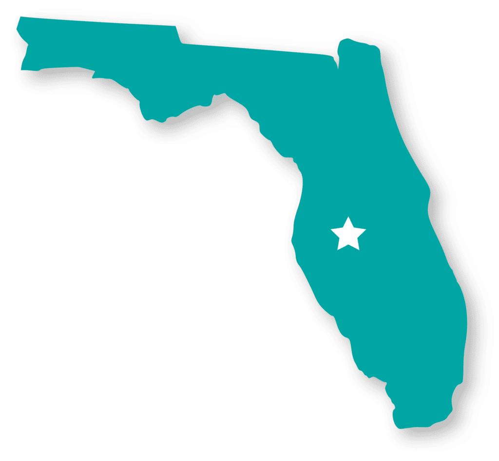 Map of Florida with a star on Lakeland, FL
